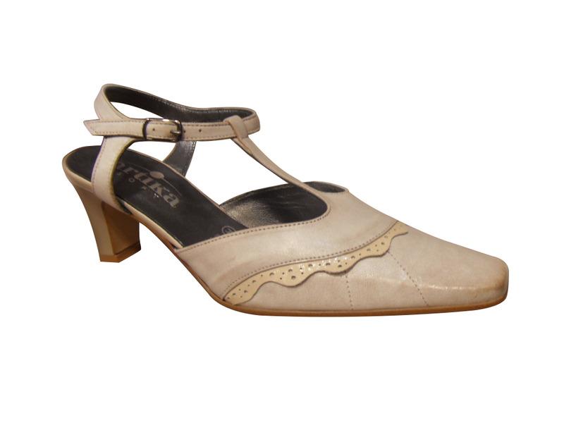 Chaussures ville ARTIKA bride salomé cuir beige(semelle lisse pour danse)
