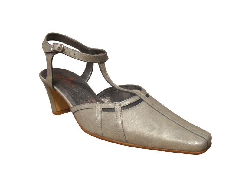 Chaussure ville ARTIKA cuir gris bride salomé (semelle lisse pour danse)
