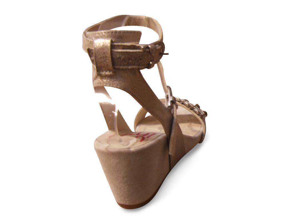 Sandales UN MATIN D'ETE cuir doré talon compensé