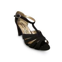 Sandale/pied-nu METAYER cuir noir et bronze doré FmBvIAz