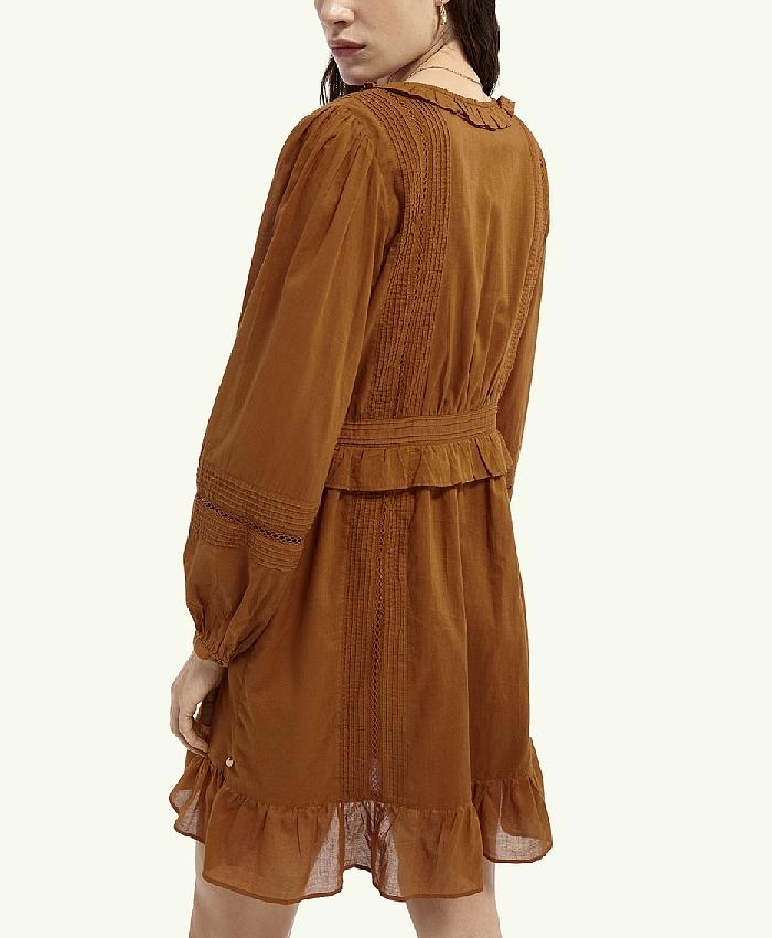 Robe courte ml col V Femme Scotch & Soda  Brown new/été