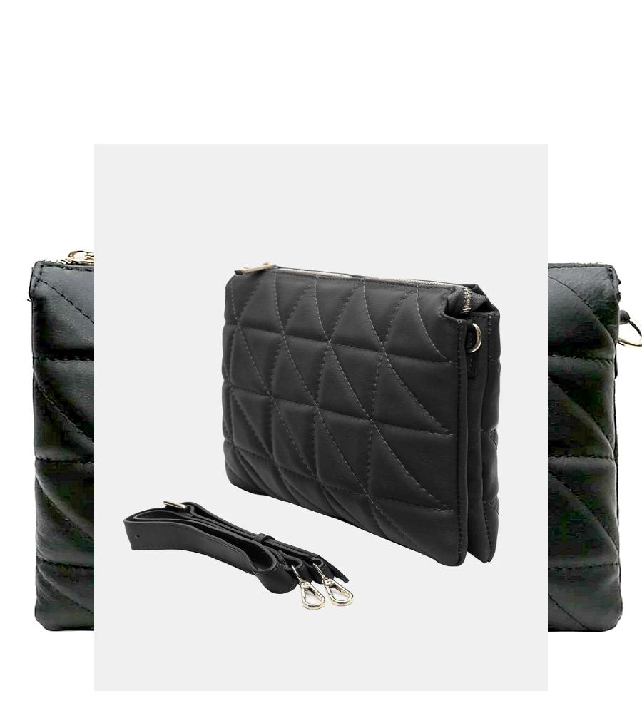 Sac Cabas/anse cuir + pochette en Cuir  (Noir)