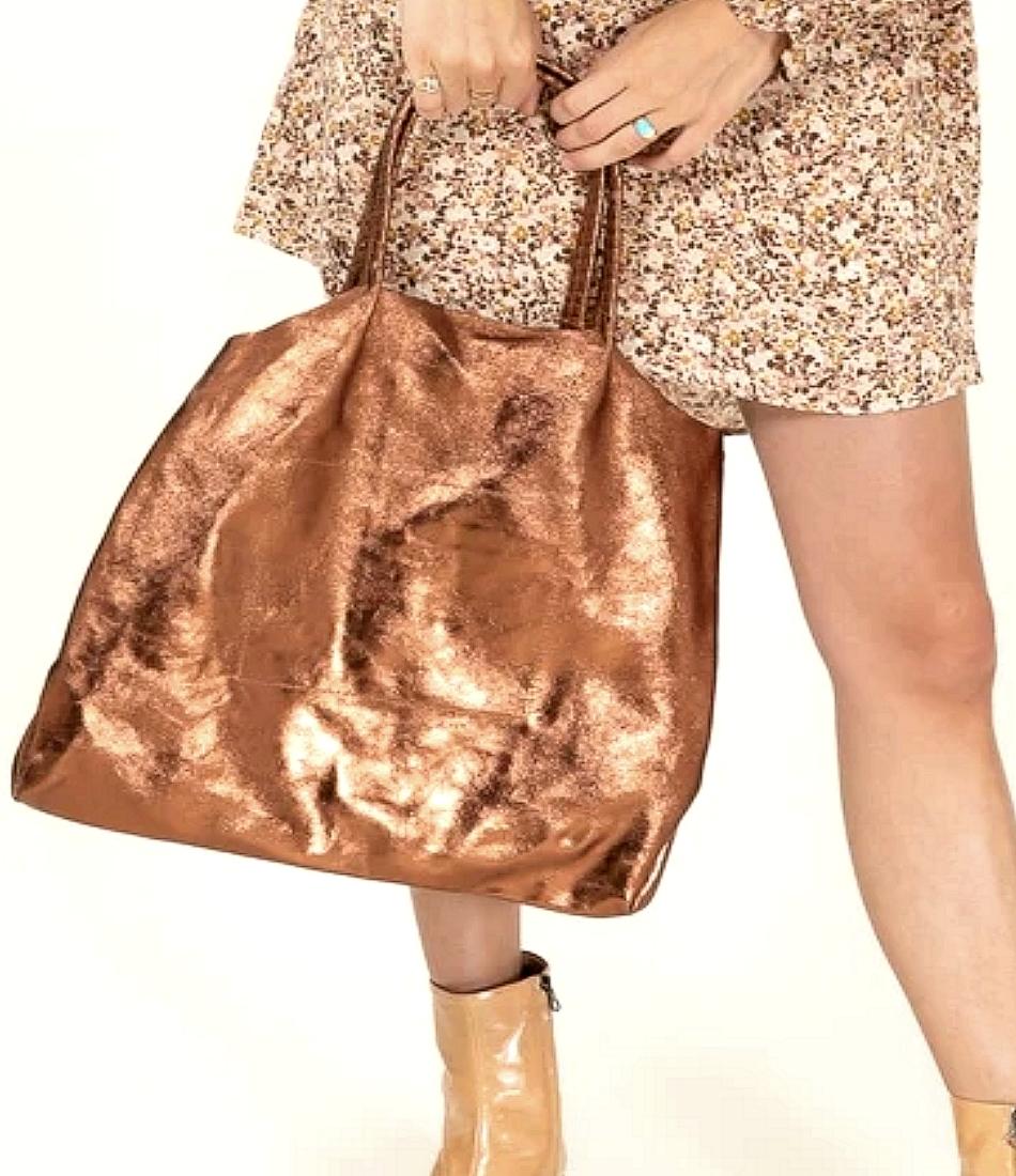 Sac Cabas en cuir + pochette intérieure (Bronze )NewCollection