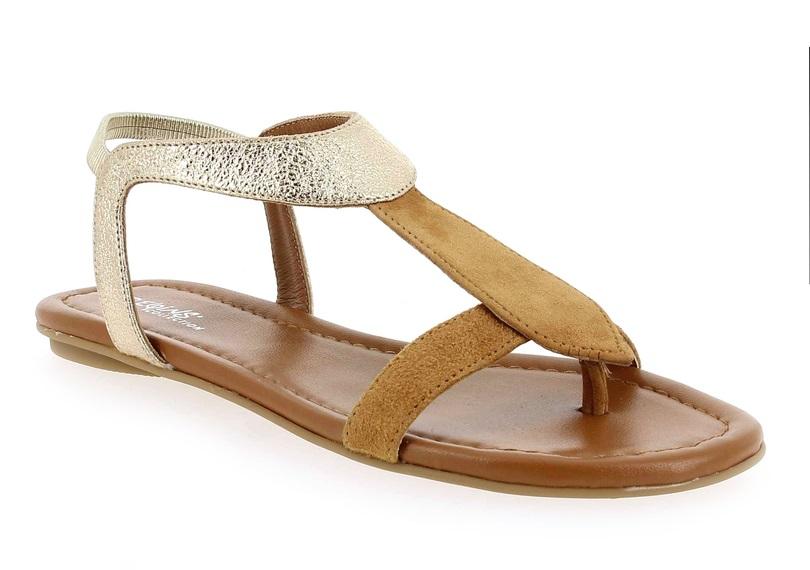Reqins sandale nu-pieds pour Femme collection été Camel/or