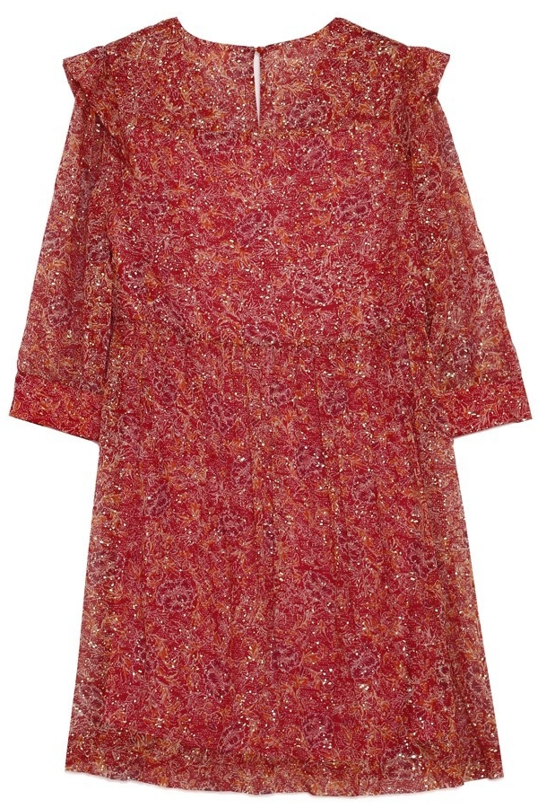 robe courte en mousseline printe or, encolure en V Grace & Mila