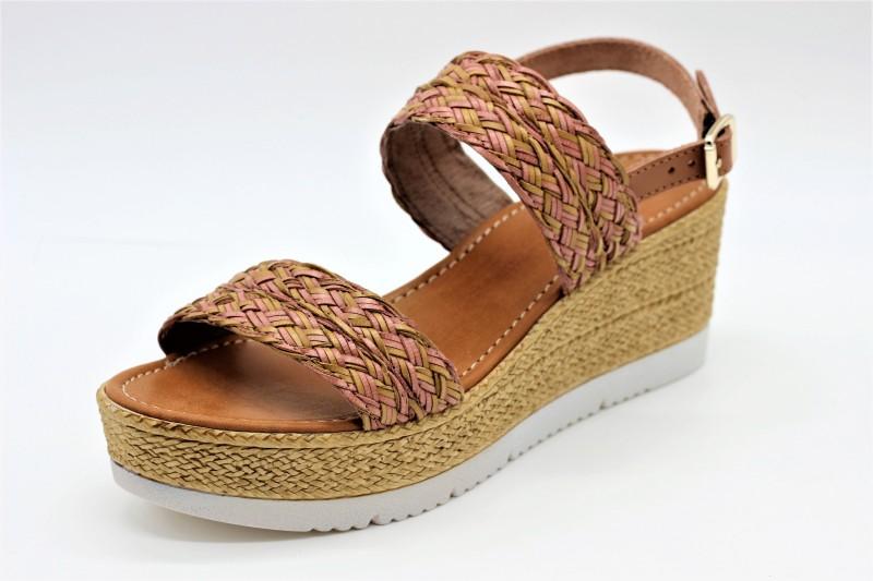 Sandale compensée de REQINS pour la femme (chamois)