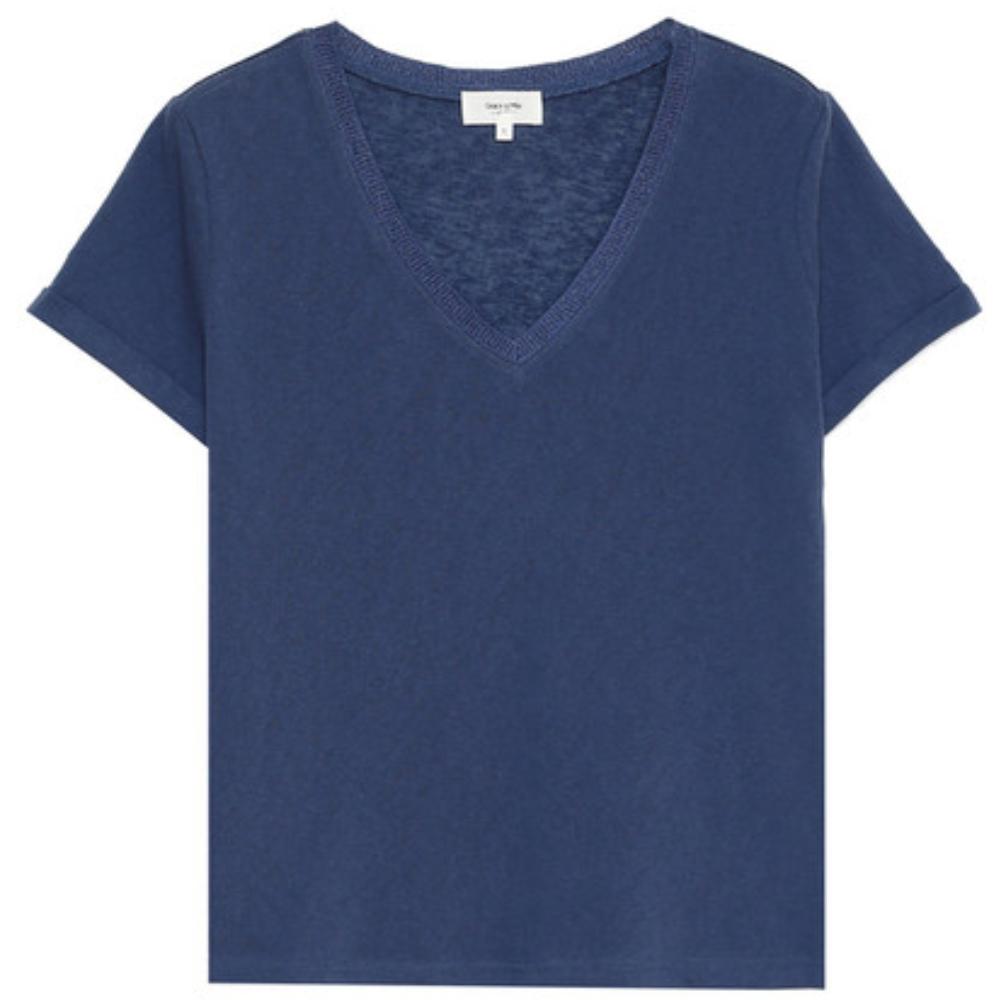 Grâce & Mila T.Shirt col V femme  Bleu collection automne hiver