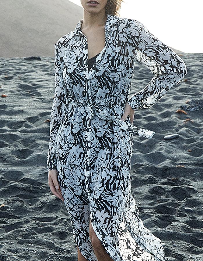 Grâce & Mila DENA  robe chemise  print/noir collection automne hiver