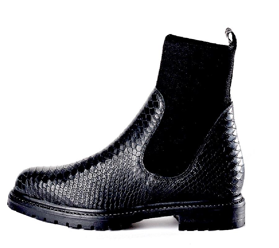 Boots Evelyn scale pour femme de REQINS Noir   col/hiver