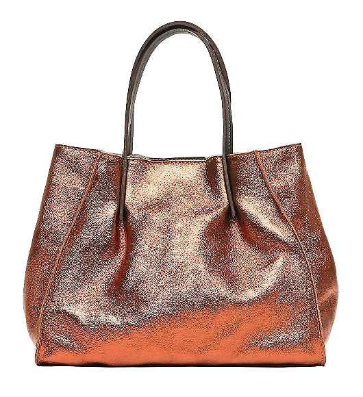 Sac anse cuir +Pochette intérieure Bronze