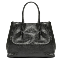 Sac anse cuir+Pochette intérieure Noir métal