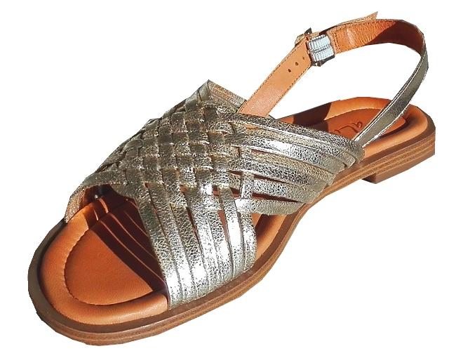 Sandale Nu-pieds cuir Vachette Platine Femme  look Aliwell