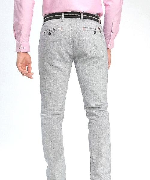 Pantalon chino Prémium Homme coton//lin Marine saison/été