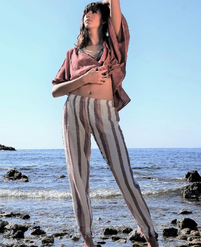 Pant Beach rayé Bordeaux Coton Pink Planet pour femme