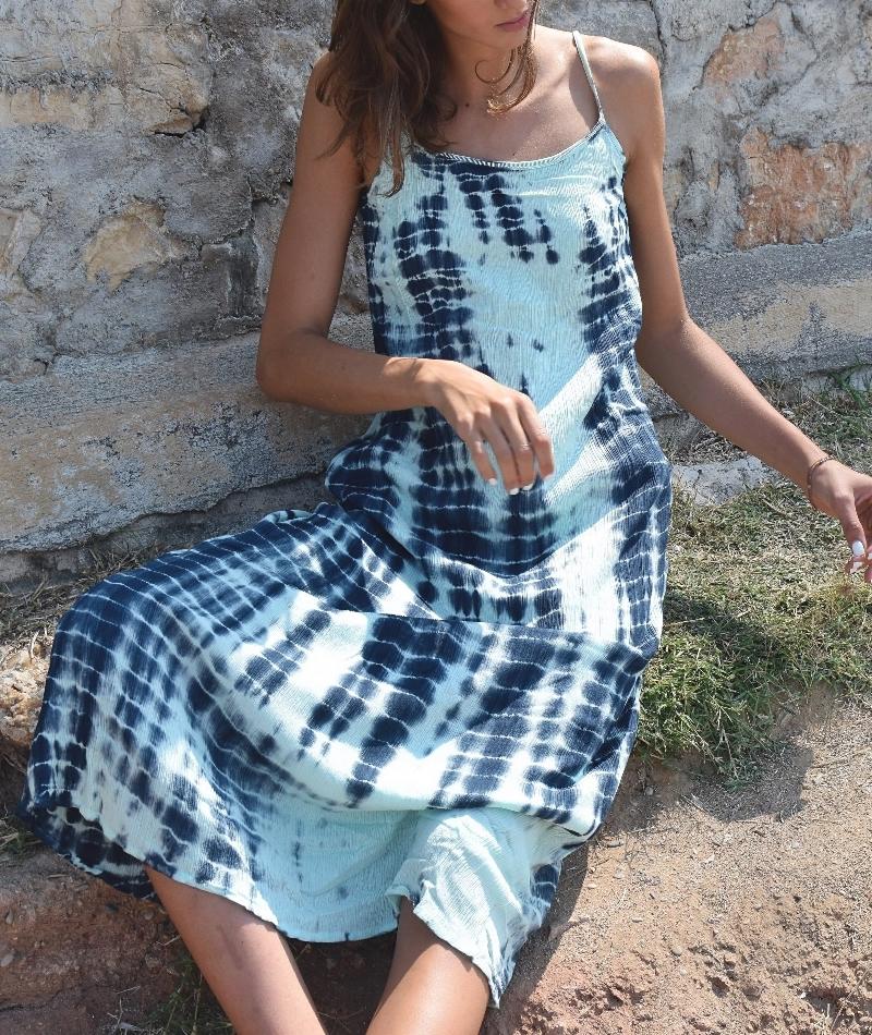 robe longue dos nu doublée, Coton, Turquoise, Pink Planet