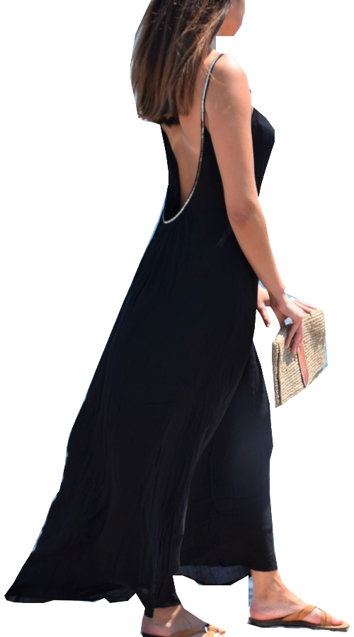 robe longue dos nu doublée, Coton, Noir, Pink Planet