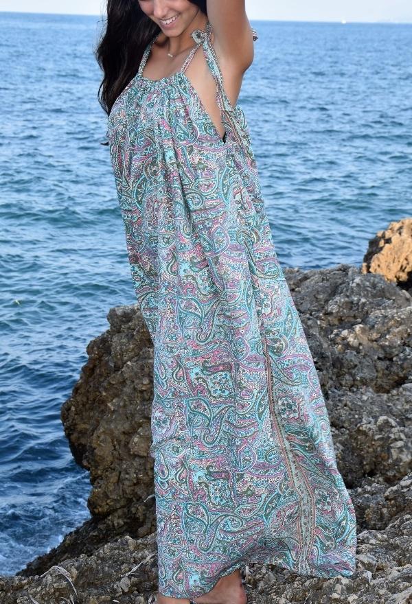 robe longue à bretelles viscose et soie Turquoise Pink Planet