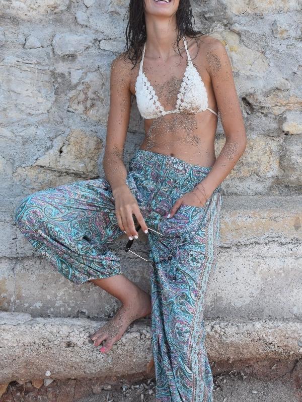 Pant Beach Print Turquoise Soie/ Viscose Pink Planet femme