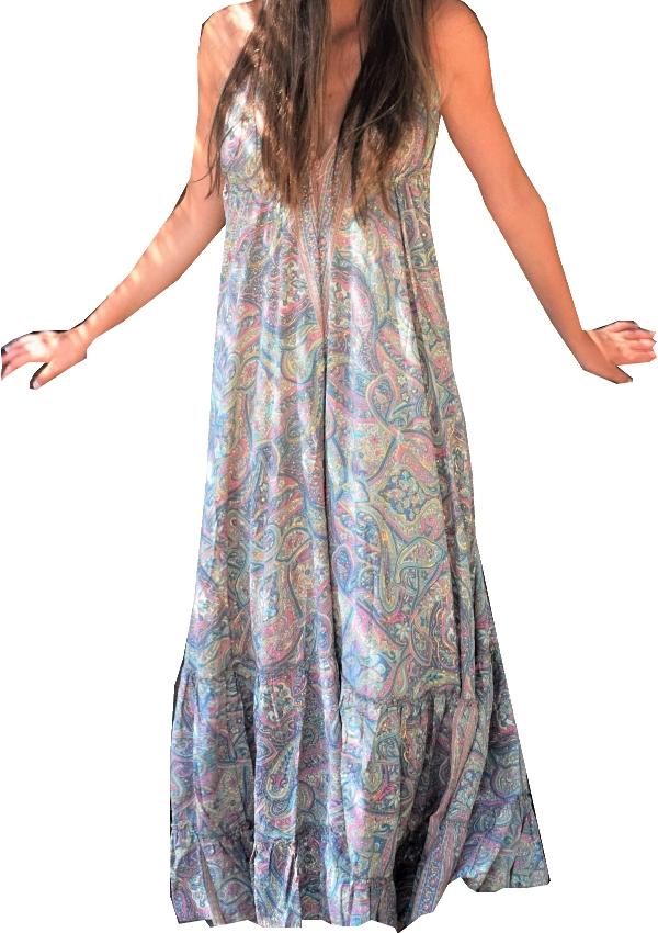robe longue dos/nu viscose et soie Turquoise Pink Planet