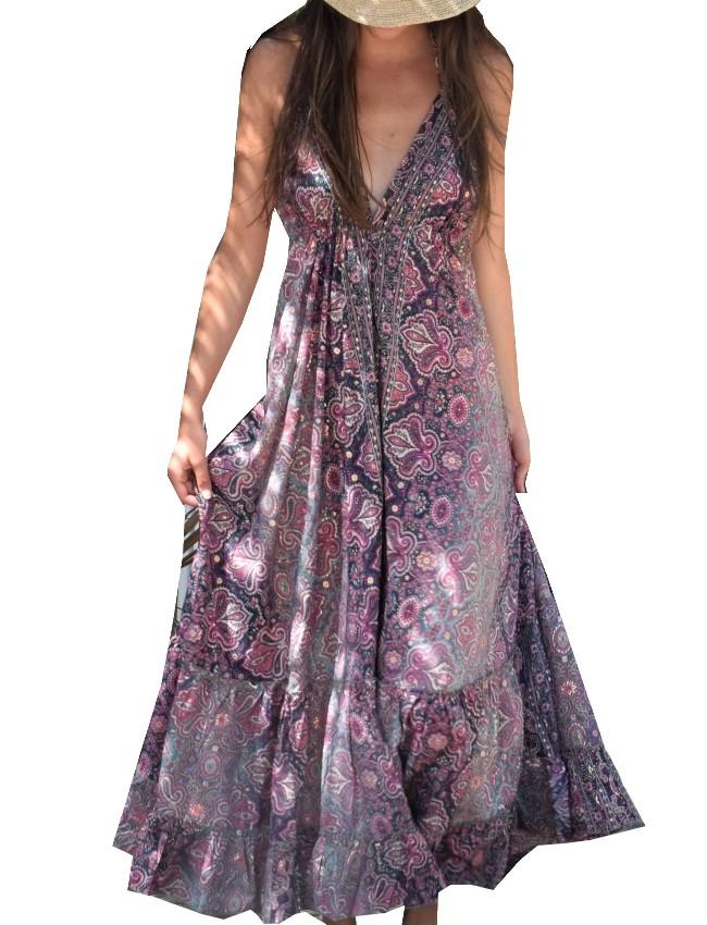 robe longue dos/nu viscose et soie Rose Pink Planet