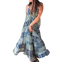 robe longue dos/nu viscose et soie Bleu Pink Planet