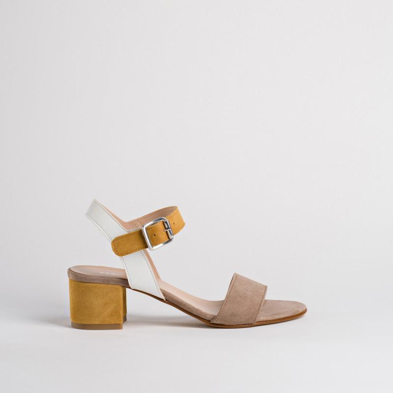 Sandale nu-pieds avec talon de 4cm pour Femme de  REQINS (taupe)