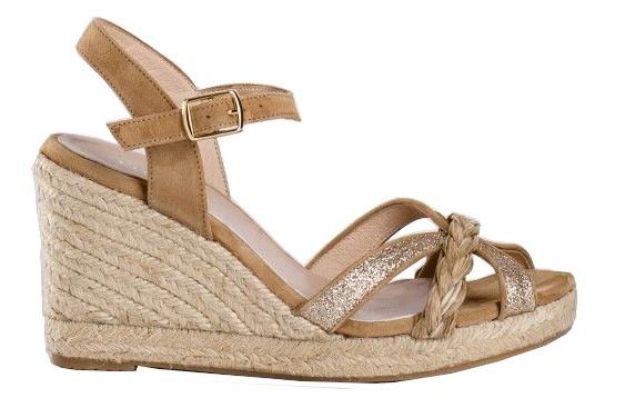 Sandale compensée de REQINS pour la femme (beige/or)