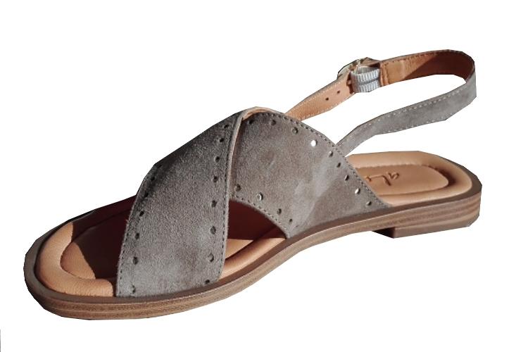 Sandale Nu-pieds cuir/Vachette Kaki Femme   Aliwell
