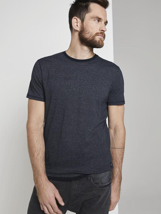 Tee shirt manches courtes Homme bleu jaspé   été 2020