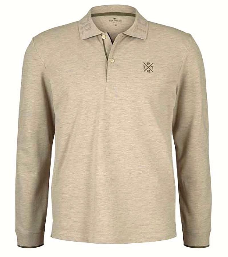 Polo TomTailor manche longue Beige homme collection hiver