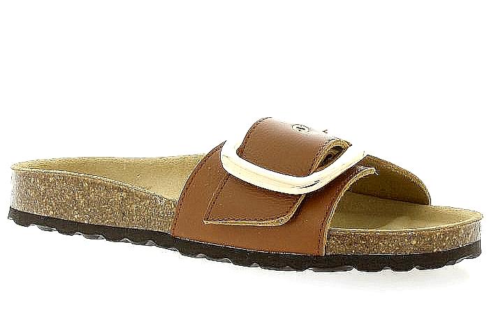 Reqins sandale nu-pieds pour Femme Cognac Nvlle Collection