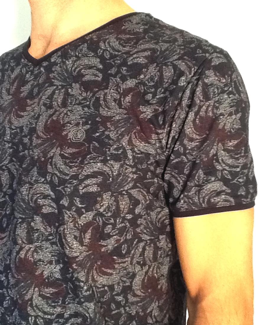 Tee.Shirt col V homme   Benson & Cherry  PrintMarine Col/Hiver