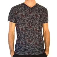 Tee.Shirt col V homme   Benson & Cherry  PrintAnthracite Col/Hiver