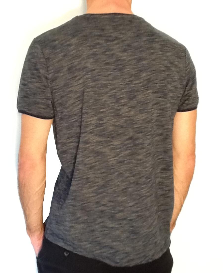 Tee.Shirt col V homme   Benson & Cherry  PrintNoir Col/Hiver