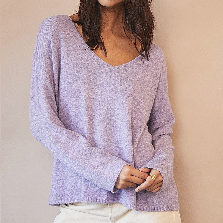 Grâce & Mila Daisy pull Overside Lilas collection automne hiver