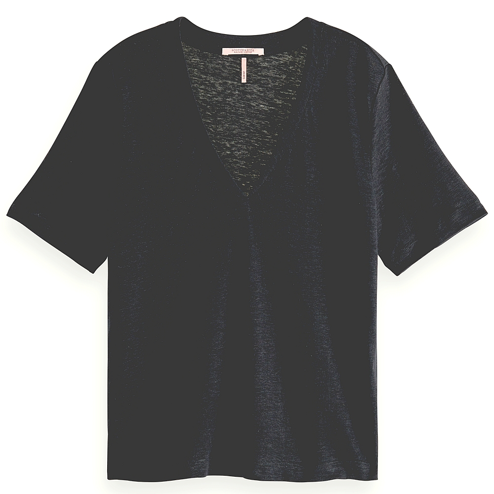 T.shirt mc grand col v en lin femme
